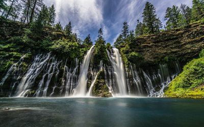 beautiful waterfall, lake, rocks, forest, mountains, trees, summer, mountain waterfall