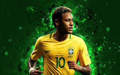 4k, Neymar, abstract art, Brazil National Team, fan art, Neymar Jr, soccer, footballers, neon lights, football stars, Brazilian football team