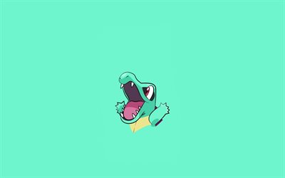 Totodile, green background, minimal, Pokemons