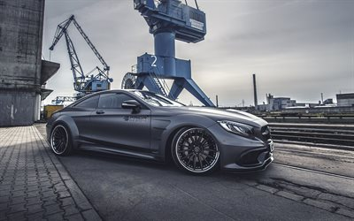 Prior-Design, tuning, port, Mercedes-Benz S-Class Coupe, C217, gray Mercedes, supercars, crane