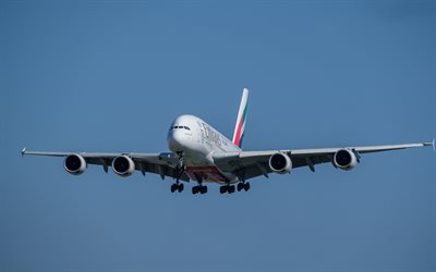 Airbus A380, large passenger plane, aircraft landing, air travel, A-380-800, Emirates Airlines