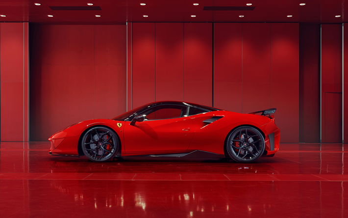 Download Wallpapers Ferrari 488 Gtb 2018 Red Sports Car Side View