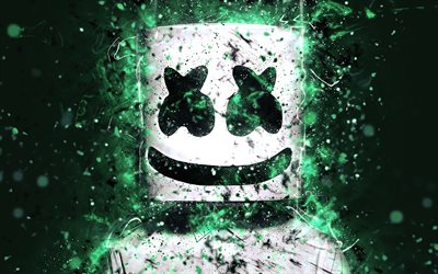 Marshmello, 4k, Christopher Comstock, turquoise neon, american DJ, superstars, neon lights, fan art, DJ Marshmello, DJs