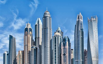 4k, Dubai, skyscrapers, UAE, cityscapes, modern buildings, United Arab Emirates, UAE cities