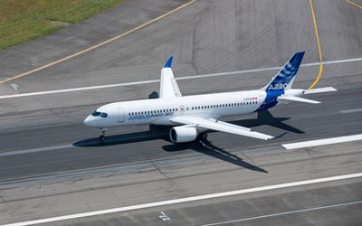 Airbus A220, Bombardier CSeries, passenger plane, air travel concepts, Passenger Transportation, Airbus