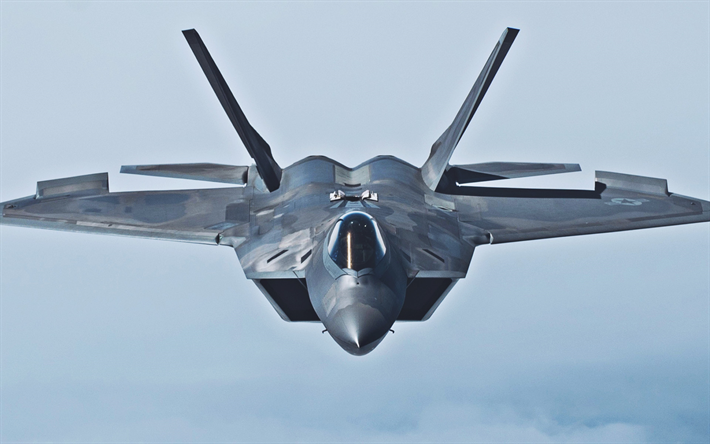 Download wallpapers Lockheed Martin F-22 Raptor, close-up