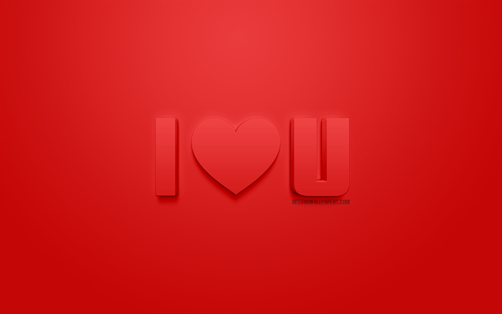 I Love You, red 3d art, romance, 3d letters, red 3d heart, love concepts, I love u