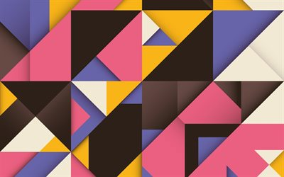 colorful triangles, geometric shapes, abstract art, material design, lollipop, triangles, creative, strips, geometry, colorful backgrounds