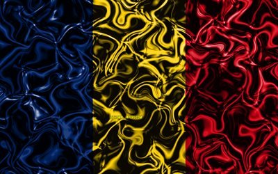 4k, Flag of Chad, abstract smoke, Africa, national symbols, Chad flag, 3D art, Chad 3D flag, creative, African countries, Chad