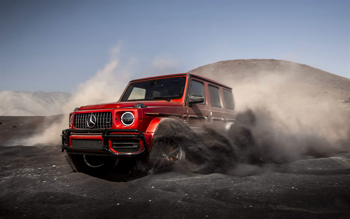 Mercedes-Benz G63 AMG, 2019, G-Class, front view, exterior, red new G63, red SUV, tuning G63, desert, black sand, Mercedes