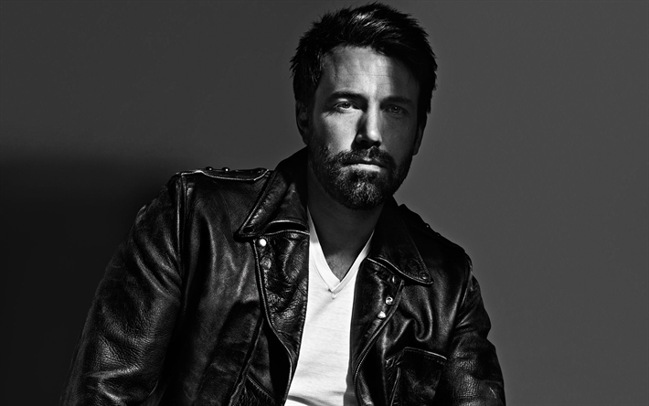 Ben Affleck, American actor, portrait, photoshoot, monochrome, Hollywood star