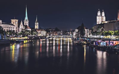 Zurich, nightscapes, Lake Zurich, Swiss cities, Europe, Switzerland, Zurich at night
