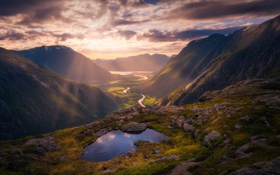 Norway, mountains, valley, river, sunset
