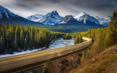 railroad, mountain, river, forest, HDR, Alberta, Canada, Jasper National Park