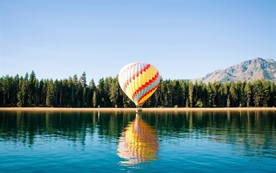 Balloon, lake, mountains, summer, forest, multicolored balloon