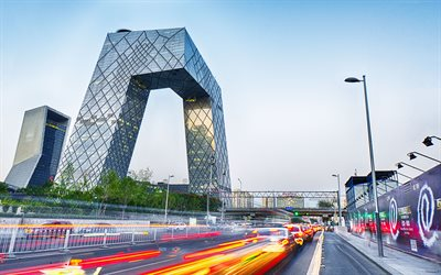 4k, CCTV Headquarters, traffic lights, street, modern buildings, Beijing, Asia, China