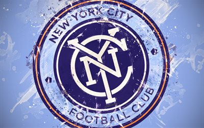 New York City FC, 4k, paint art, American soccer team, creative, logo, MLS, emblem, blue background, grunge style, New York, USA, football, Major League Soccer