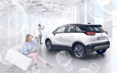 Opel Grandland X, 2018, 4k, rear view, white crossover, exterior, new white Grandland X, Opel