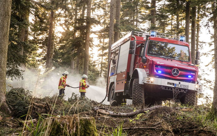 Download Wallpapers Mercedes Benz Unimog 2018 Forest Fire