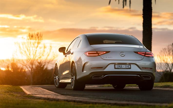 Télécharger fonds d'écran Mercedes-Benz CLS, 2018, 4k, vue de l'arrière, la berline sport ...