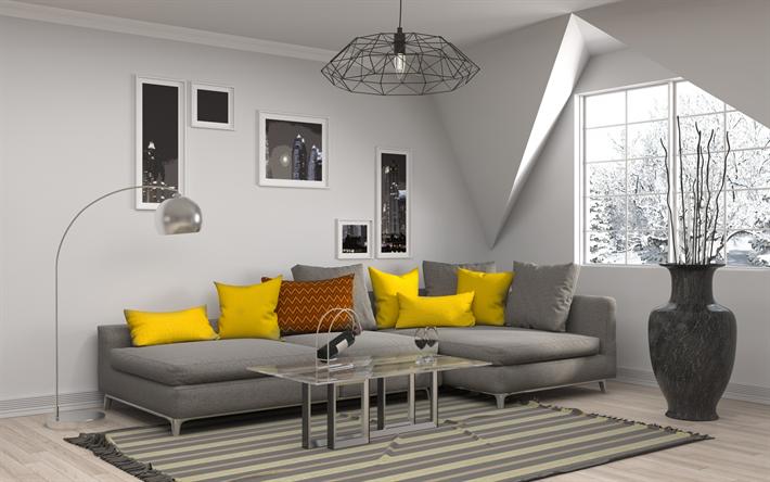 Scarica sfondi grigio soggiorno interni moderni giallo cuscini divano grigio design - Cuscini divano design ...