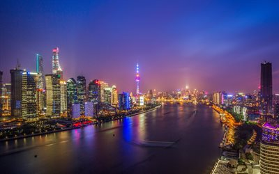 Huangpu River, 4k, nighscapes, modern buildings, Lujiazui Nig, Shanghai, China, Asia
