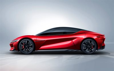 BYD E-Seed GT, 2019, side view, electric supercar, red sports coupe, Chinese cars, electric cars, BYD