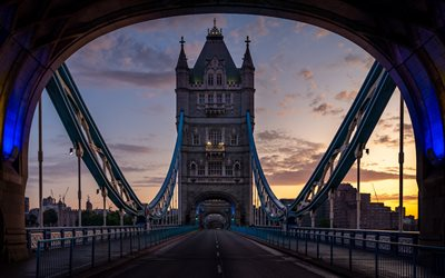 Tower Bridge, 4k, London at motning, english landmarks, Europe, England, UK, United Kingdom