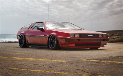 DeLorean DMC-12, retro cars, 1981 cars, supercars, 1981 DeLorean DMC-12, red DeLorean, american cars, DeLorean
