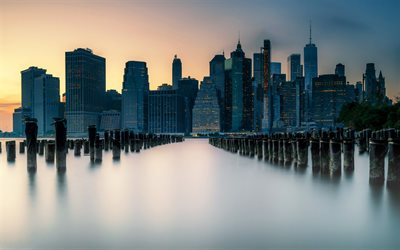 New York City, evening, sunset, bay, New York cityscape, skyline, NYC, USA