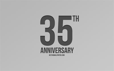 35th Anniversary sign, gray background, carbon anniversary signs, 35 Years Anniversary, stylish anniversary symbols, 35th Anniversary, creative art
