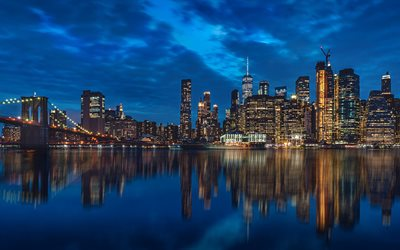 New York, Brooklyn Bridge, twilight, american cities, Manhattan, NYC, USA, America