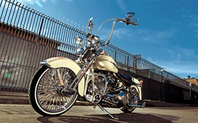 Harley-Davidson, luxury white motorcycle, retro motorcycles, american motorcycles
