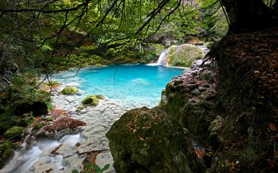 forest blue lake, white marble stones, forest, waterfall, lake, Navarra, Spain