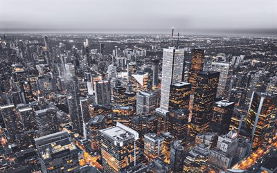 Toronto, cityscapes, canadian cities, Canada, Toronto at evening, North America