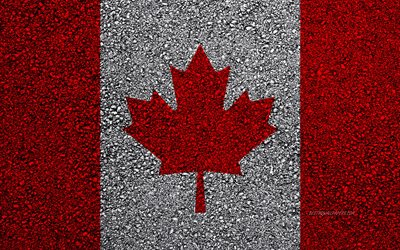 Flag of Canada, asphalt texture, flag on asphalt, Canada flag, North America, Canada, flags of North America countries, Canadian flag