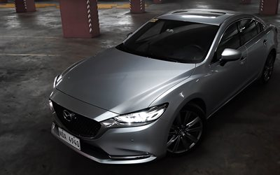 Mazda 6 Sedan, parking, 2019 cars, japanese cars, Mazda6, luxury cars, 2019 Mazda 6, Mazda, silver Mazda 6