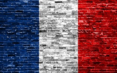 4k, French flag, bricks texture, Europe, national symbols, Flag of France, brickwall, France 3D flag, European countries, France