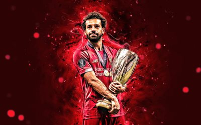 Mohamed Salah with cup, 4k, 2019, Liverpool FC, UEFA Super Cup, egyptian footballers, LFC, Mohamed Salah, Salah, Premier League, Mohamed Salah art, neon lights, Salah Liverpool, Mo Salah, soccer