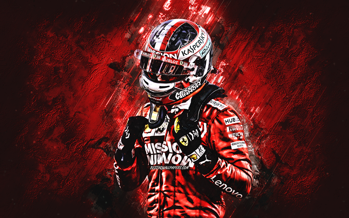 Charles Leclerc, Scuderia Ferrari, Formula 1, Monegasque racing driver, red stone background, F1, Ferrari