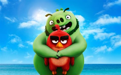 Red and Leonard, 4k, The Angry Birds Movie 2, 2019 movie, 3D-animation, Angry Birds 2, Red, Leonard