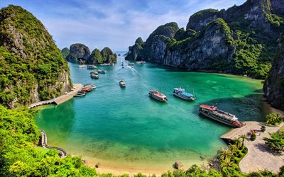 Ha Long Bay, 4k, sea, beautiful nature, paradise, Vietnam, Asia, Vịnh Hạ Long, HDR, summer travel