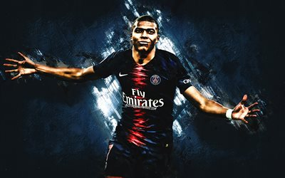 Kylian Mbappe, PSG, portrait, French football player, Paris Saint-Germain, Ligue 1, football, blue creative background, football stars, Mbappe