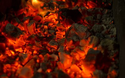 coals textures, 4k, fireplace, coals, bonfire, fire flames, orange fire texture