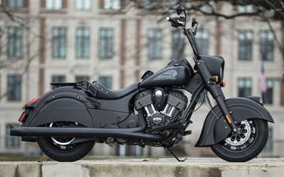 Indian Chief Dark Horse, 2019, vista lateral, exterior, moto negra, americana de la motocicleta, de la India