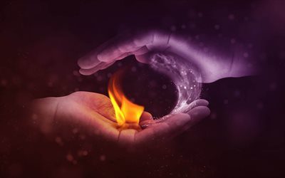 4k, Water and Fire, hands, water fire frame, creative, water vs fire, artwork, water, fire flames