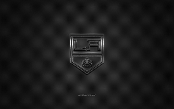 Los Angeles Kings, American hockey club, NHL, logo argento, grigio contesto in fibra di carbonio, hockey, Los Angeles, California, USA, National Hockey League, Los Angeles Kings logo