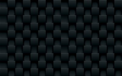 black 3D squares, geometric patterns, squares backgrounds, 3D squares, white abstract background, 3D squares textures, squares textures, background with squares