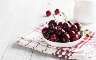 cherries, fruits, plate with cherries, berries, summer, cherries on a plate