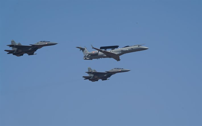Indian Air Force, KW3555, Embraer EMB-145SM, E145, SU-30, indian fighters, indian bomber